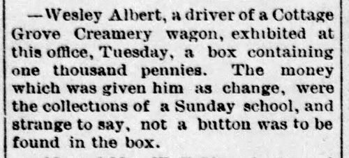 Wes Albert creamery driver - Enquirer - Oct 5 1889