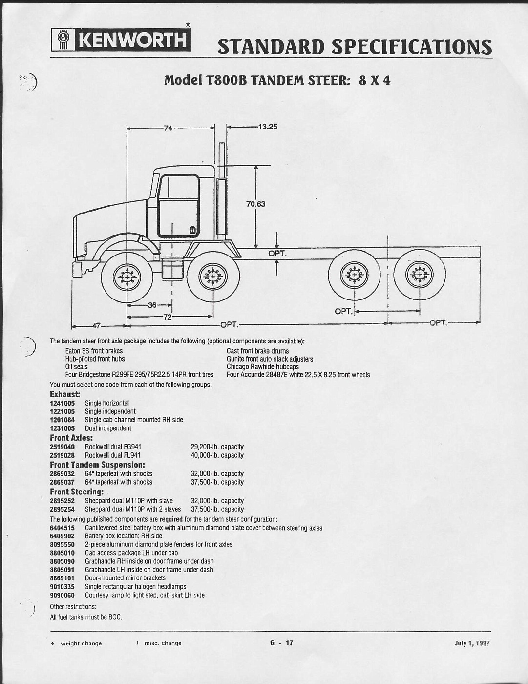 Photo kwspec1997 06 kenworth spec sheets 1997 album for New home spec sheet