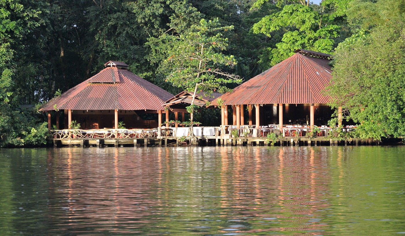 The main entrance to the lodge is from the lagoon.