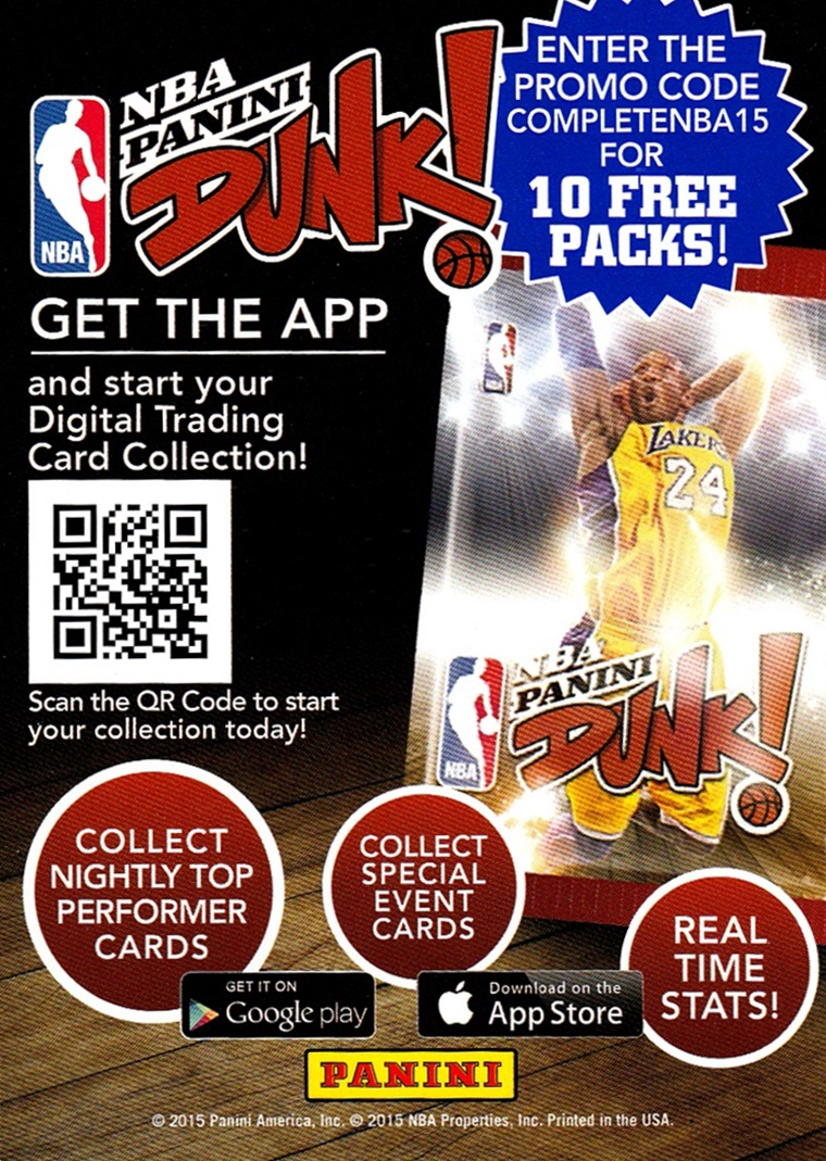 2015-16 Complete NBA Dunk info card