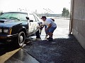 washing cars before the show