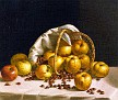 Still Life, Yellow Apples and Chestnuts Spilling from a Basket [1856]