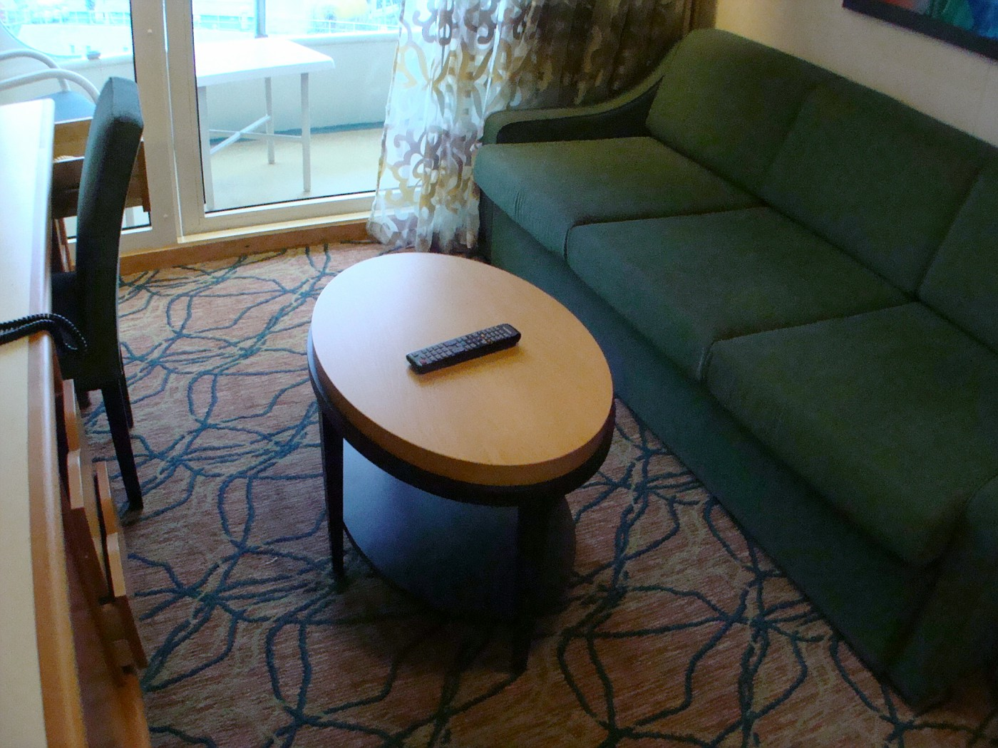 New Coffee Table in Balcony Cabin Deck 7 FWD (STB)