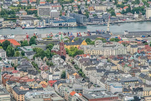Aerial view of Bergen, Norway