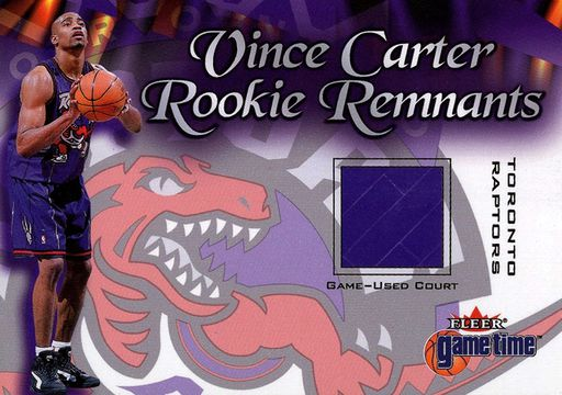 2000-01 Fleer Game Time Vince Carter Rookie Remnants Court Expired Redemption (1)