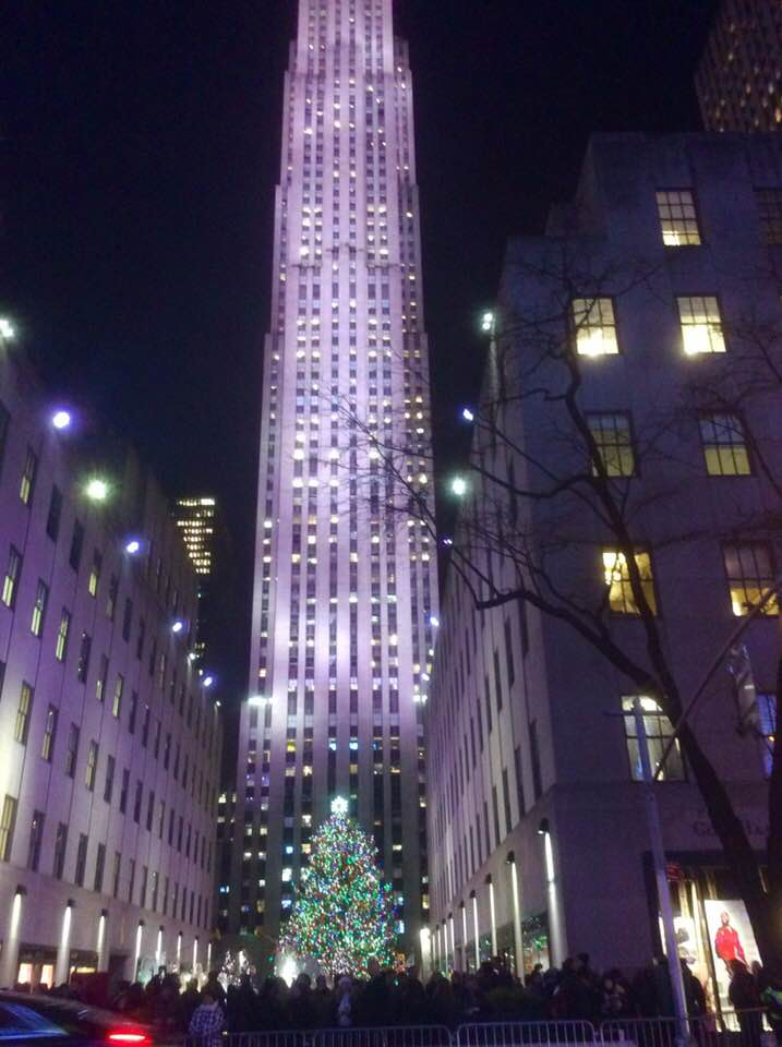 Rockefeller building with tree