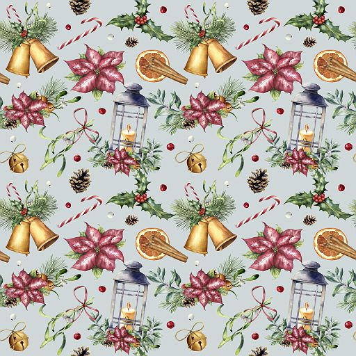 Watercolor Christmas seamless pattern with traditional decor. Hand painted lantern, snowberry, bells, candle, mistletoe, cinnamon, poinsettia and holly isolated on blue background. Holiday print.