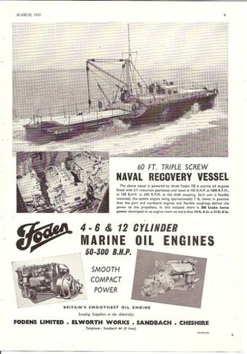NAVAL RECOVERY BOAT MARINE OIL ENGINE 1953