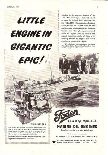 aries atlantic crossing fd6 marine oil engine 1954