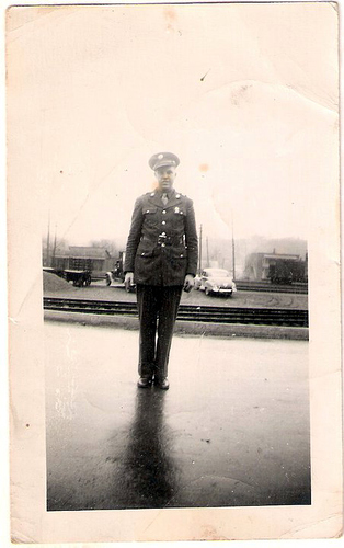 116-PFC Gordon C  Moffett, maybe at Oneida Train or Bus station as he was getting ready to leave for WWII.