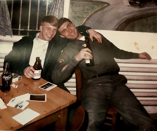 35-Terry Carver and buddy, in Germany probably, with the Flip Top German Beer
