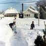 Neighbors shovelling Virgie's driveway, N  Clemens, Lansing, Michigan, MAY 1967