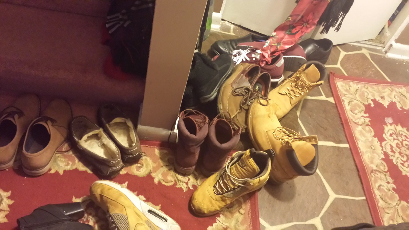 Shoe problem by front door....