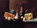 Still Life (Copper tankard, box, apples, wine bottles ginger pot, cigar box and peeled orange) [1884]